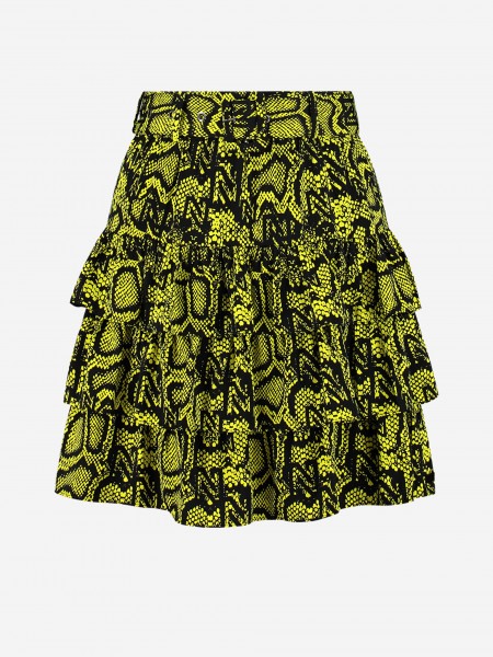 SKIRT WITH RUFFLES AND SNAKE PRINT