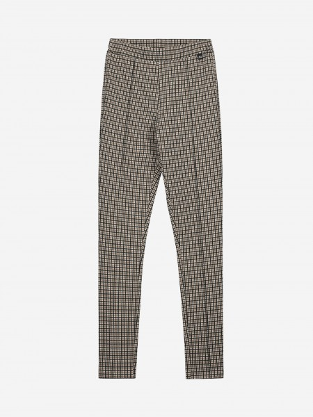 Check pants with interved pleat