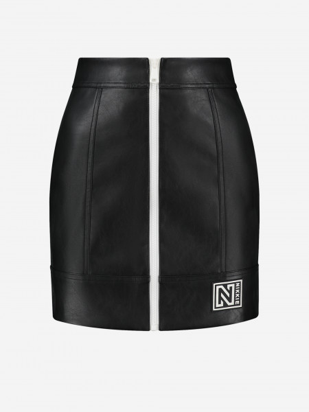 Vegan leather skirt with patch