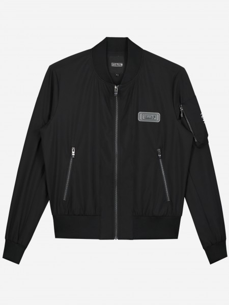 Black bomber with patch and artwork