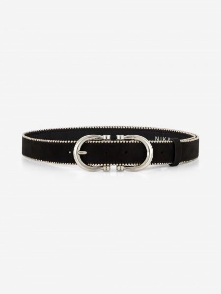 Black vegan leather belt