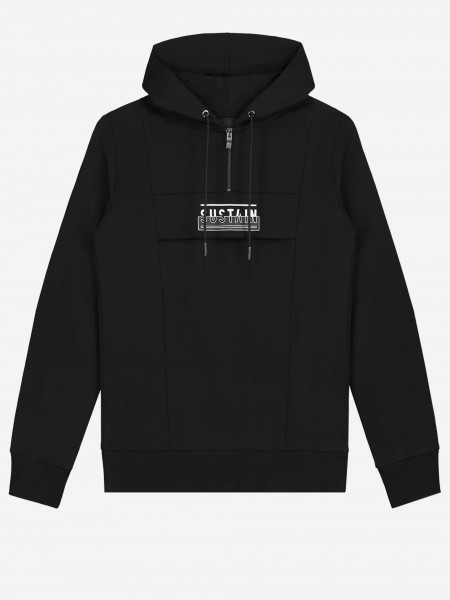 Hoodie with artwork and zipper closure