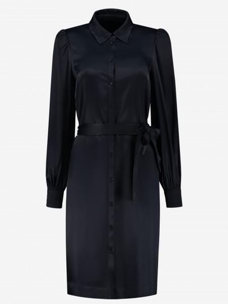 Shiny Midi Dress with puffed sleeves