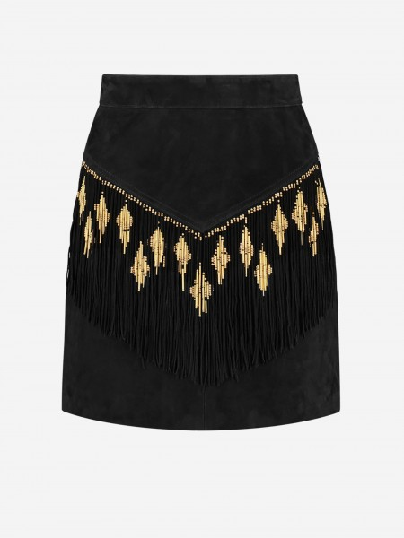 Leather skirt with fringes and beads