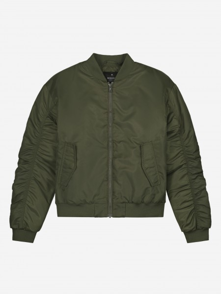 Green bomber with artwork