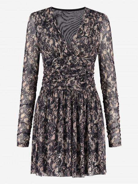 mesh dress with animal print