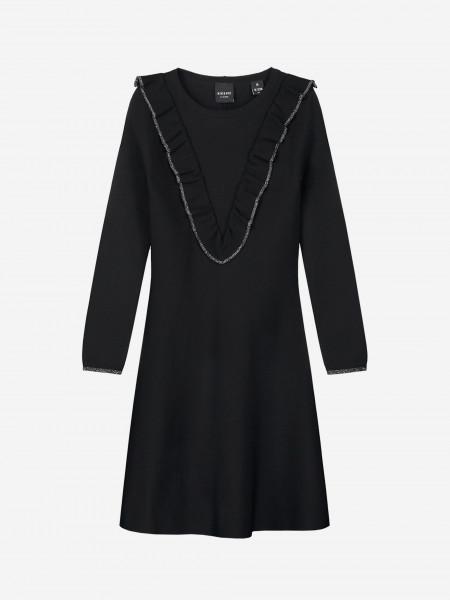 Ruffled dress with glitter edges
