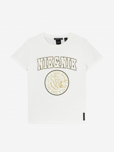 White t-shirt with metallic logo