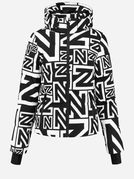 Black ski jacket with N logo print