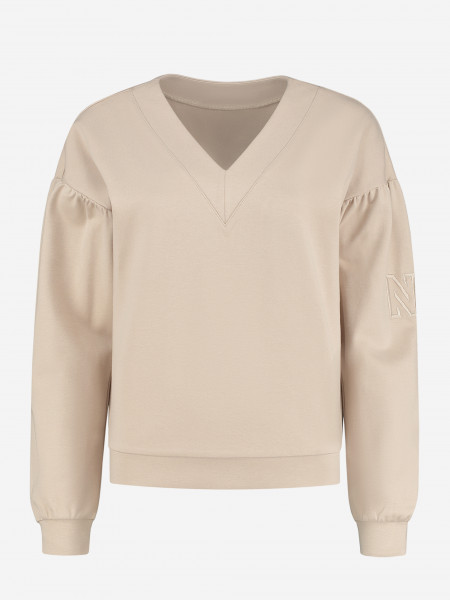 Sweater with N logo embroidery