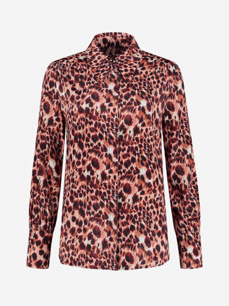 BLOUSE WITH RUFFLES AND PANTHER PRINT