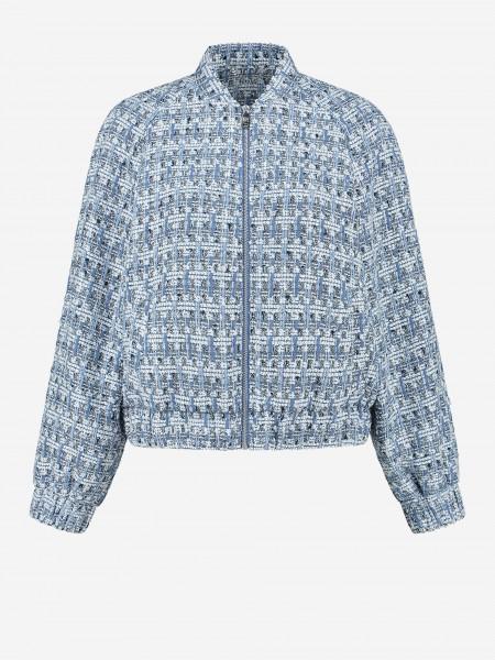 Tweed bomber with zipper