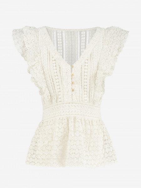 TOP WITH LACE AND RUFFLES