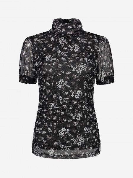 mesh top with flower print