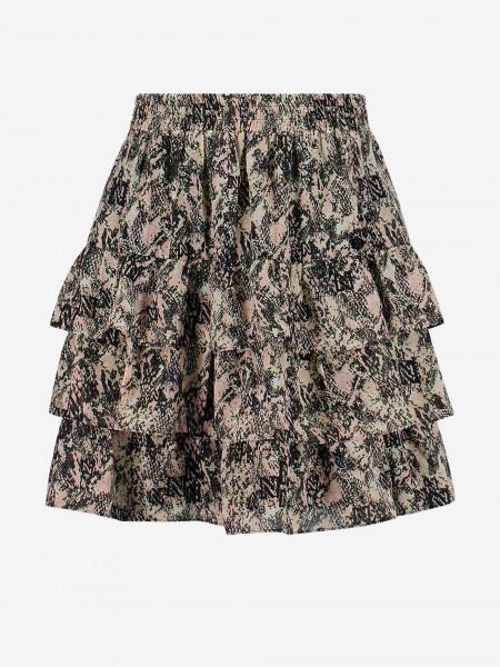 Skirt with ruffles and animal print