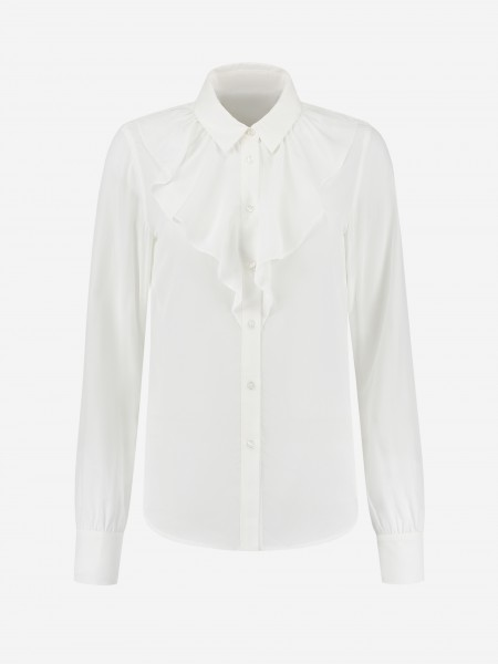 White blouse with ruffle