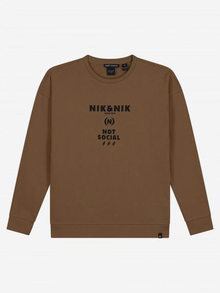 Brown sweater with NIK&NIK artwork