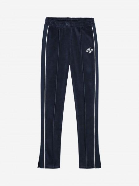 Velvet sweatpants with inverted pleat