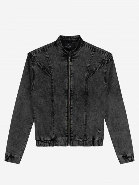 Grey denim jacket with zipper