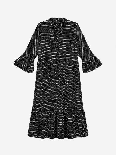 Long dress with all over dot print