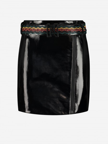 Vegan leather skirt with belt