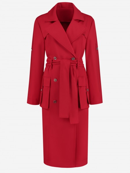 Red trenchcoat with silver details