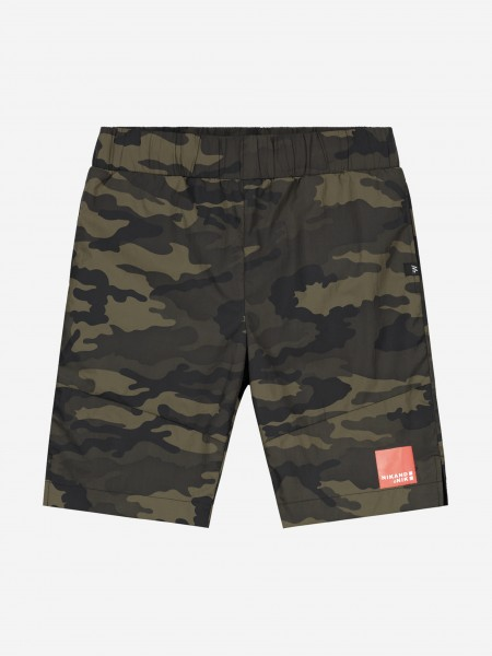 Green shorts with NIK&NIK artwork and army print