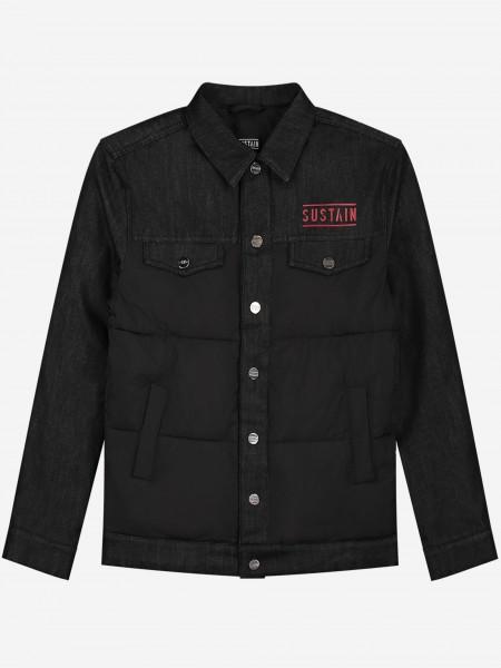 Black denim jacket with red logo
