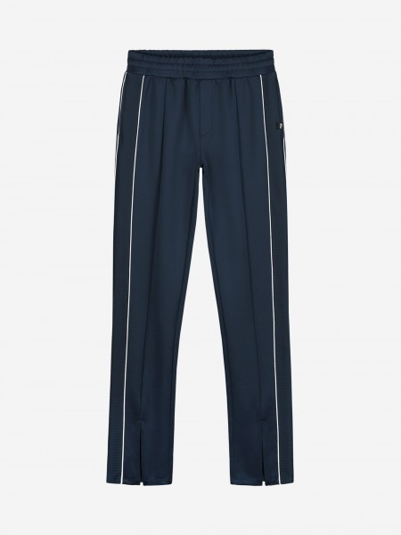 Royal blue pants with trim and slit
