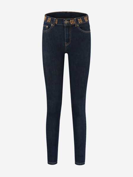 Blue skinny jeans with N logo stitching