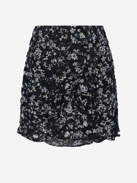 SKIRT WITH RUFFLES AND ALL-OVER FLOWER PRINT