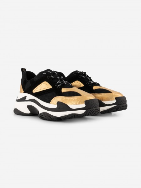Chunky sneakers in black/gold