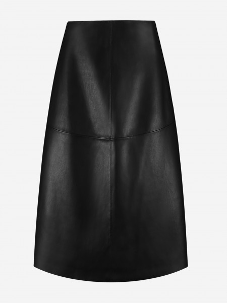 Plain vegan leather midi skirt