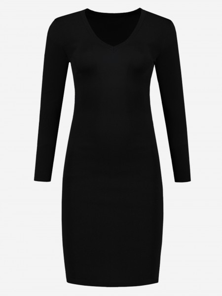 Black dress with v-neckline