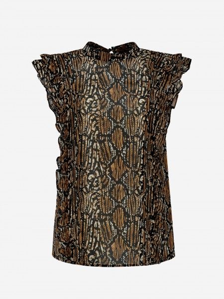 TOP WITH ALL OVER PRINT AND RUFFLES