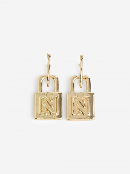 Earrings with padlock