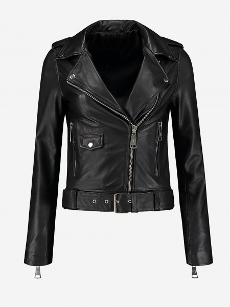 Black biker jacket made of leather