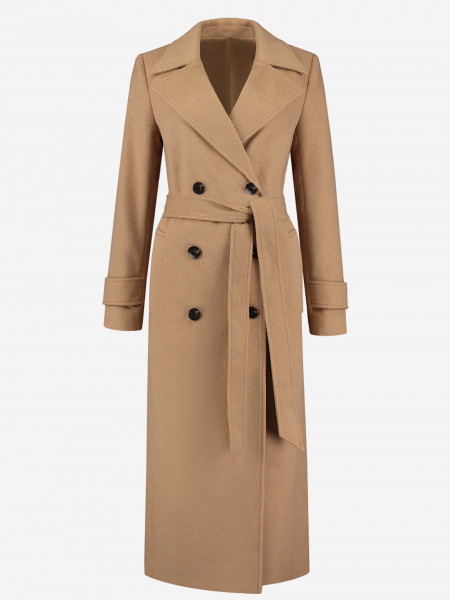double breasted belted long coat