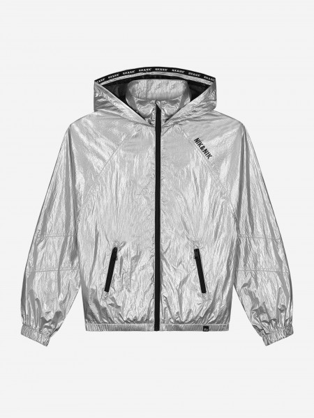 SILVER COLORED JACKET WITH LOGO