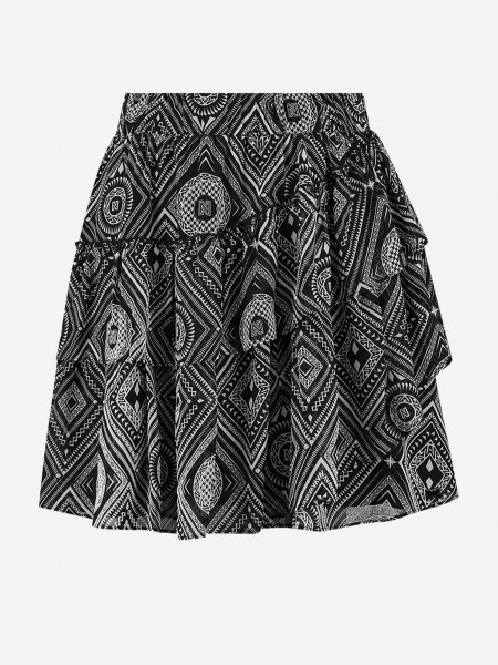 Graphic skirt with ruffles