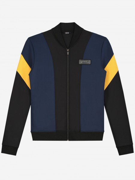 Jacket with blue and yellow