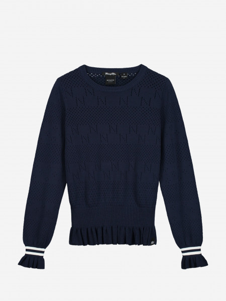 Knit with ruffle sleeves