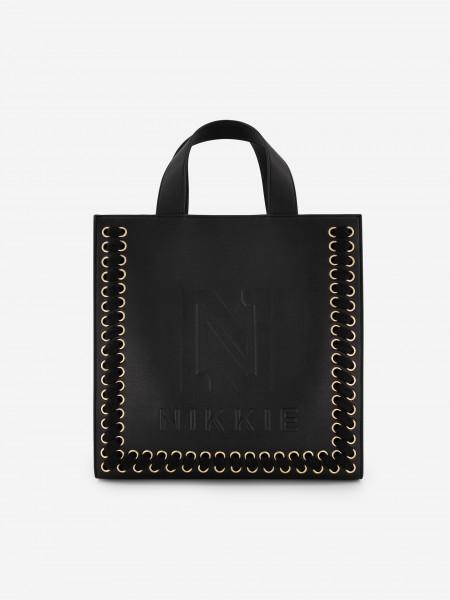 SHOPPER BAG WITH GOLDEN DETAILS
