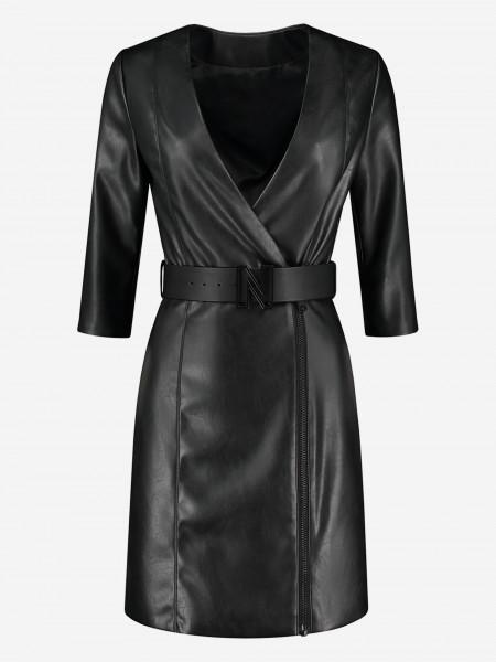 Vegan leather dress with belt