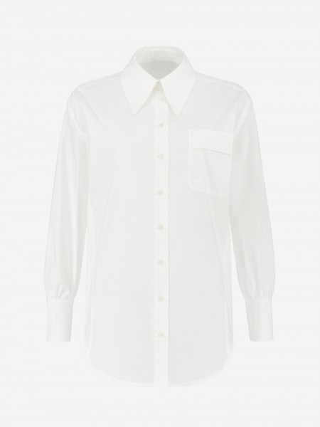 Classic white blouse with flap pocket