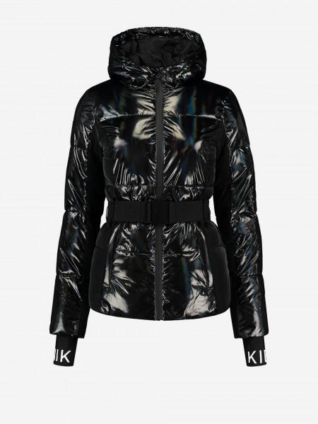 Black Metallic Puffer Ski Jacket