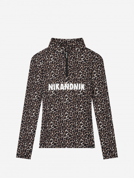 Leopard Ski Pully with Zipper