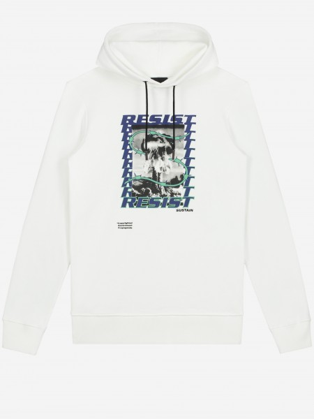 White hoodie with artwork