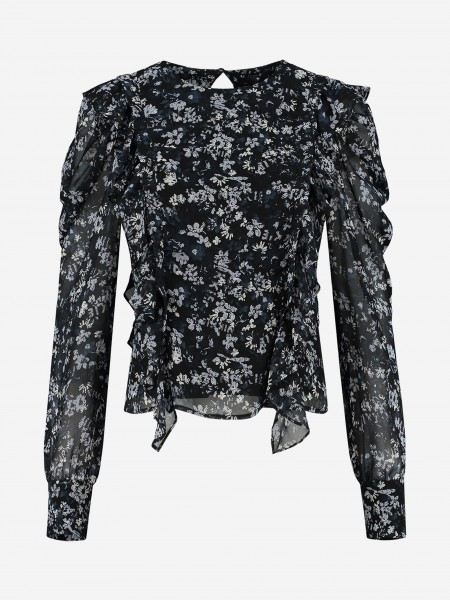 BLOUSE WITH RUFFLES AND ALL-OVER FLOWER PRINT