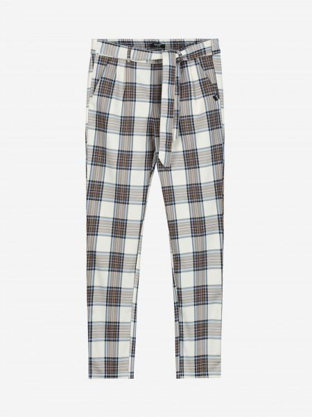 Checked pants with cord